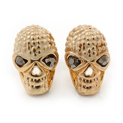Children's/ Teen's / Kid's Small 'Skull' Stud Earrings In Gold Plating - 11mm Length