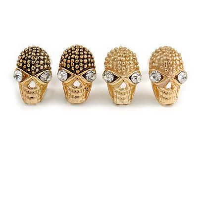 Set Of 2 Children's/ Teen's / Kid's Small 'Skull' Stud Earrings In Gold Plating - 11mm L