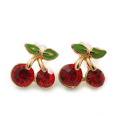 Children's/ Teen's / Kid's Small Red Crystal 'Double Cherry' Stud Earrings In Gold Plating - 10mm Length