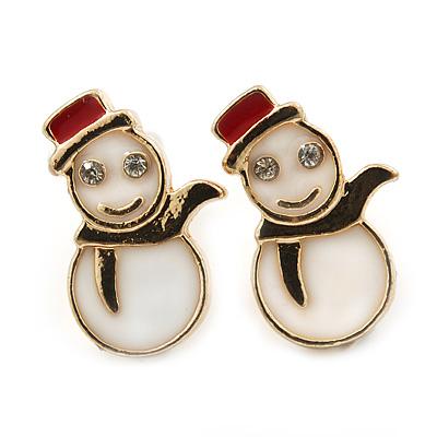 Children's/ Teen's / Kid's Small White, Red Enamel 'Snowman' Stud Earrings In Gold Plating - 15mm Length