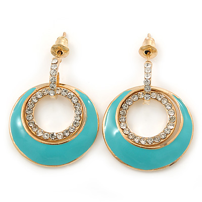 Aqua Enamel, Crystal Double Hoop Earrings In Gold Plating - 30mm Length
