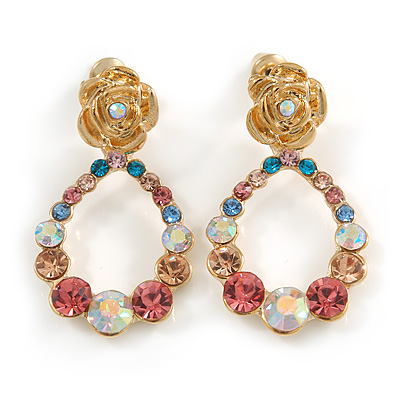 Multicoloured Austrian Crystal Rose With Oval Hoop Drop Earrings In Gold Plating - 32mm Length