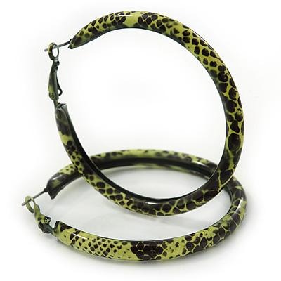 Medium Lemon Yellow/ Black Snake Print Hoop Earrings In Silver Tone - 55mm Diameter