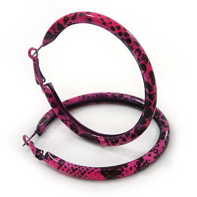 Medium Deep Pink/ Black Snake Print Hoop Earrings In Silver Tone - 55mm Diameter