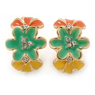 Orange/ Green/ Yellow Crystal Floral Clip On Earrings In Gold Plating - 22mm Length