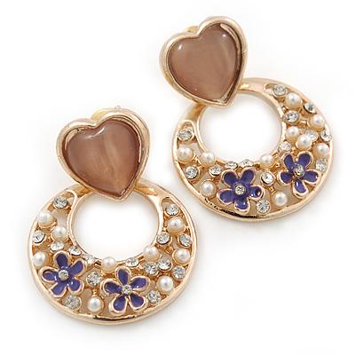 Pink Heart & Flower Diamante Hoop Earring In Gold Plating - 30mm Length - main view