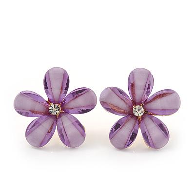 Lavender Acrylic 'Daisy' Stud Earrings In Gold Plating - 25mm Diameter