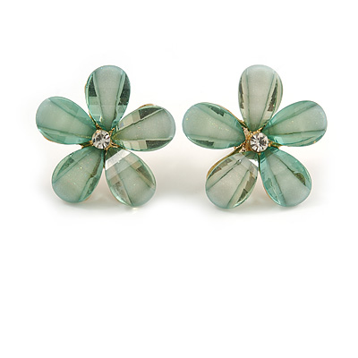 Pastel Green Acrylic 'Daisy' Stud Earrings In Gold Plating - 25mm Diameter