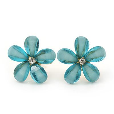 Light Blue Acrylic 'Daisy' Stud Earrings In Gold Plating - 25mm Diameter