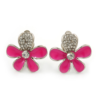 Deep Pink Enamel Diamante 'Daisy' Clip On Earrings In Rhodium Plating - 25mm Diameter
