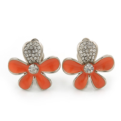 Coral Enamel Diamante 'Daisy' Clip On Earrings In Rhodium Plating - 25mm Diameter