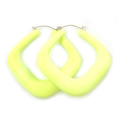 Large Matte Acrylic Square Doorknocker Hoop Earrings in Neon Yellow - 6cm Diameter