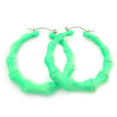 Medium Sized Bamboo Textured Doorknocker Hoop Earrings in Neon Green - 5cm Diameter