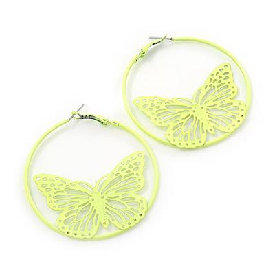 Neon Yellow Filigree Butterfly Metal Hoop Earrings - 6cm Diameter