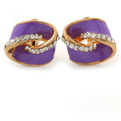Purple Enamel, Crystal Knot Clip On Earrings In Gold Tone - 15mm L