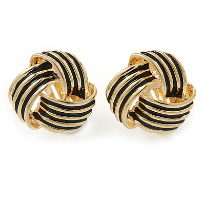 Gold Tone Black Enamel 'Knot' Clip On Earrings - 18mm D