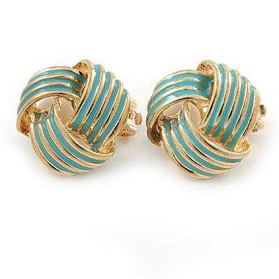 Gold Tone Aqua Blue Enamel 'Knot' Clip On Earrings - 18mm D