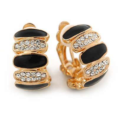 Gold Plated Black Enamel Crystal C Shape Clip On Earrings - 20mm Length