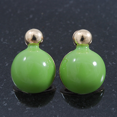 Teen Lime Green Enamel Dome Shaped Stud Earrings In Gold Plating - 20mm Length