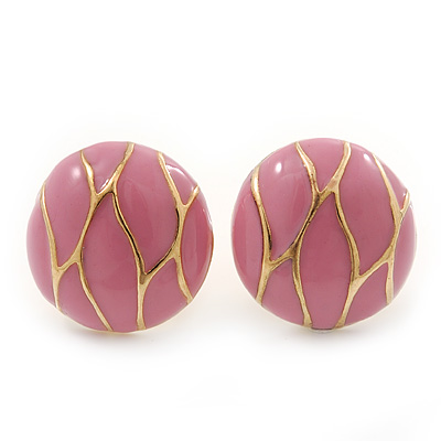 Baby Pink Enamel Round 'Button' Stud Earrings In Gold Plating - 17mm Diameter