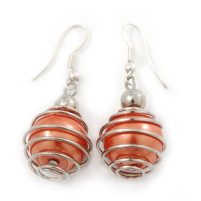 Silver Tone Apricot Faux Pearl Drop Earrings - 4cm Drop