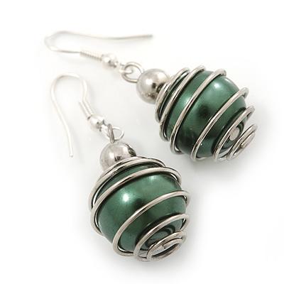 Silver Tone Dark Green Faux Pearl Drop Earrings - 4cm Drop - main view