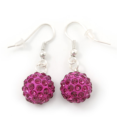 Magenta Crystal 'Ball' Drop Earrings In Silver Plating - 35mm Length