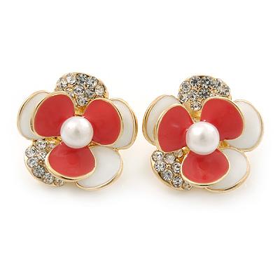 Gold Plated White/ Coral Enamel, Crystal 3D Flower Stud Earrings - 20mm Diameter