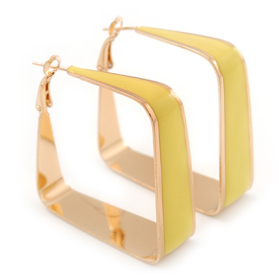 Contemporary Square Yellow Enamel Hoop Earrings In Gold Plating - 40mm Width