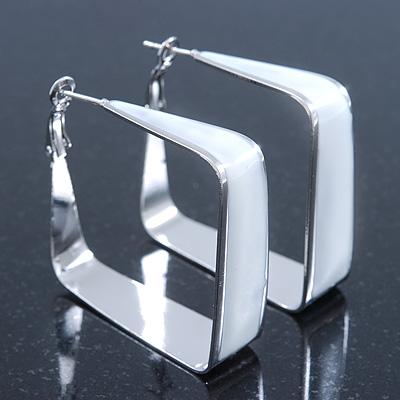 Contemporary Square White Enamel Hoop Earrings In Rhodium Plating - 50mm Width - main view