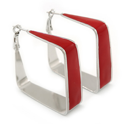 Contemporary Square Red Enamel Hoop Earrings In Rhodium Plating - 50mm Width
