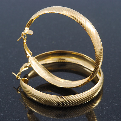 Medium Bright Gold Tone Etched Hoop Earrings - 55mm Diameter