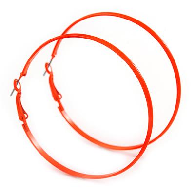 Large Bright Orange Enamel Flat Hoop Earrings In Silver Tone - 60mm Diameter