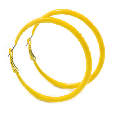 Large Yellow Enamel Hoop Earrings In Silver Tone - 60mm Diameter