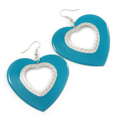 Large Teal Enamel 'Heart' Hoop Earrings In Rhodium Plating - 70mm Drop