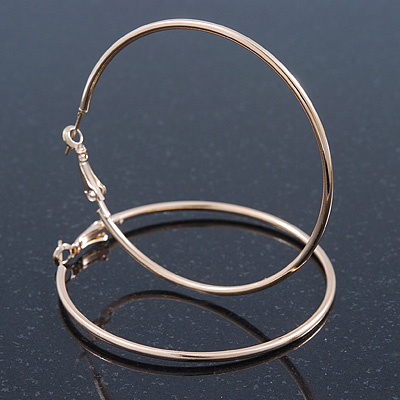 Large Slim Classic Hoop Earrings In Gold Plating - 60mm Diameter