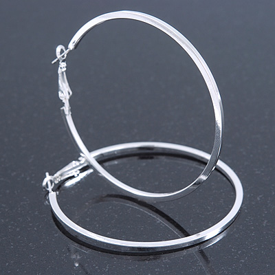 Large Thin Silver Tone Square Tube Round Hoop Earrings - 60mm