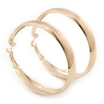 Large Polished Gold Plated Hoop Earrings - 50mm Diameter