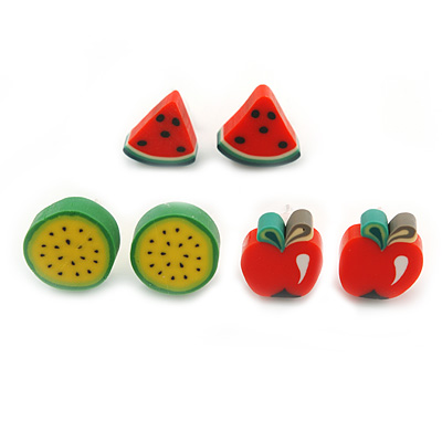 Children's/ Teen's / Kid's Fimo Red/Green Watermelon, Red/Green Apple & Green/Yellow Melon Fruit Stud Earrings Set - 10mm Across