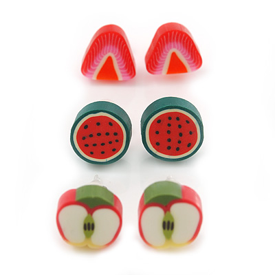 Children's/ Teen's / Kid's Fimo Red Strawberry, Green/Red Watermelon & Red/Green Apple Fruit Stud Earrings Set - 10mm Across