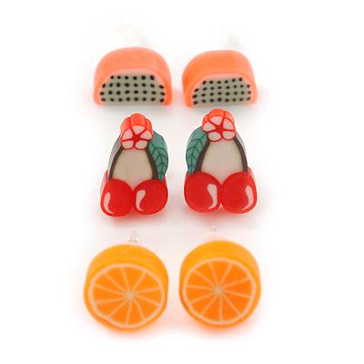Children's/ Teen's / Kid's Fimo Orange, Red/Green Cherry & Pink Guava Fruit Stud Earrings Set - 10mm Across