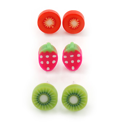 Children's/ Teen's / Kid's Fimo Red Tomato, Deep Pink Strawberry & Light Green Kiwi Fruit Stud Earrings Set - 10mm Across