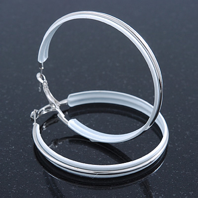 Large White Enamel Hoop Earrings In Silver Tone - 60mm Diameter