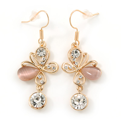 Clear Crystal, Light Pink Cat Eye Stone Butterfly Drop Earrings In Gold Plating - 50mm Length