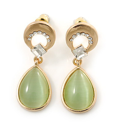 Light Green Cat Eye Teardrop Earrings In Gold Plating - 33mm Length
