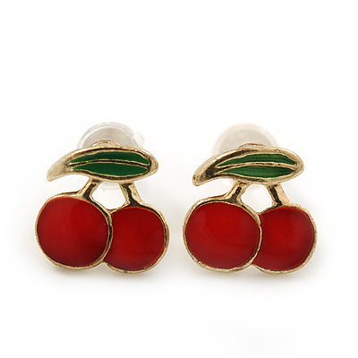 Children's/ Teen's / Kid's Tiny Red/ Green Enamel 'Double Cherry' Stud Earrings In Gold Plating - 7mm Length