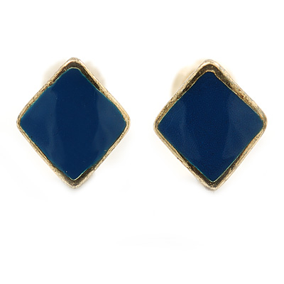Children's/ Teen's / Kid's Tiny Blue Enamel 'Square' Stud Earrings In Gold Plating - 8mm Length