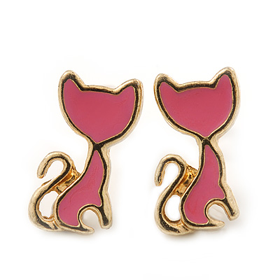 Children's/ Teen's / Kid's Small Pink Enamel 'Kitty' Stud Earrings In Gold Plating - 12mm Length