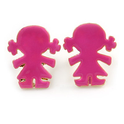 Children's/ Teen's / Kid's Small Deep Pink Enamel 'Little Girl' Stud Earrings In Gold Plating - 13mm Length