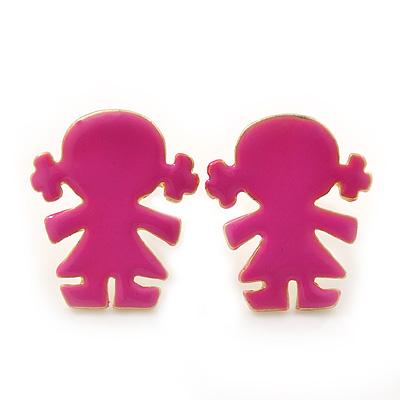 Children's/ Teen's / Kid's Small Deep Pink Enamel 'Little Girl' Stud Earrings In Gold Plating - 13mm Length